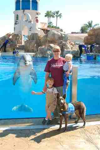 Sandy Mays and Hawk, of the Canine Angels service dogs, with family and unnamed Dolphin.