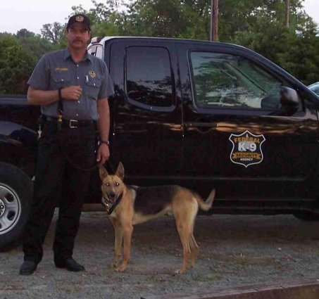 Don Gardener with Skarro of the Federal K-9 Security Agency, Arkansas