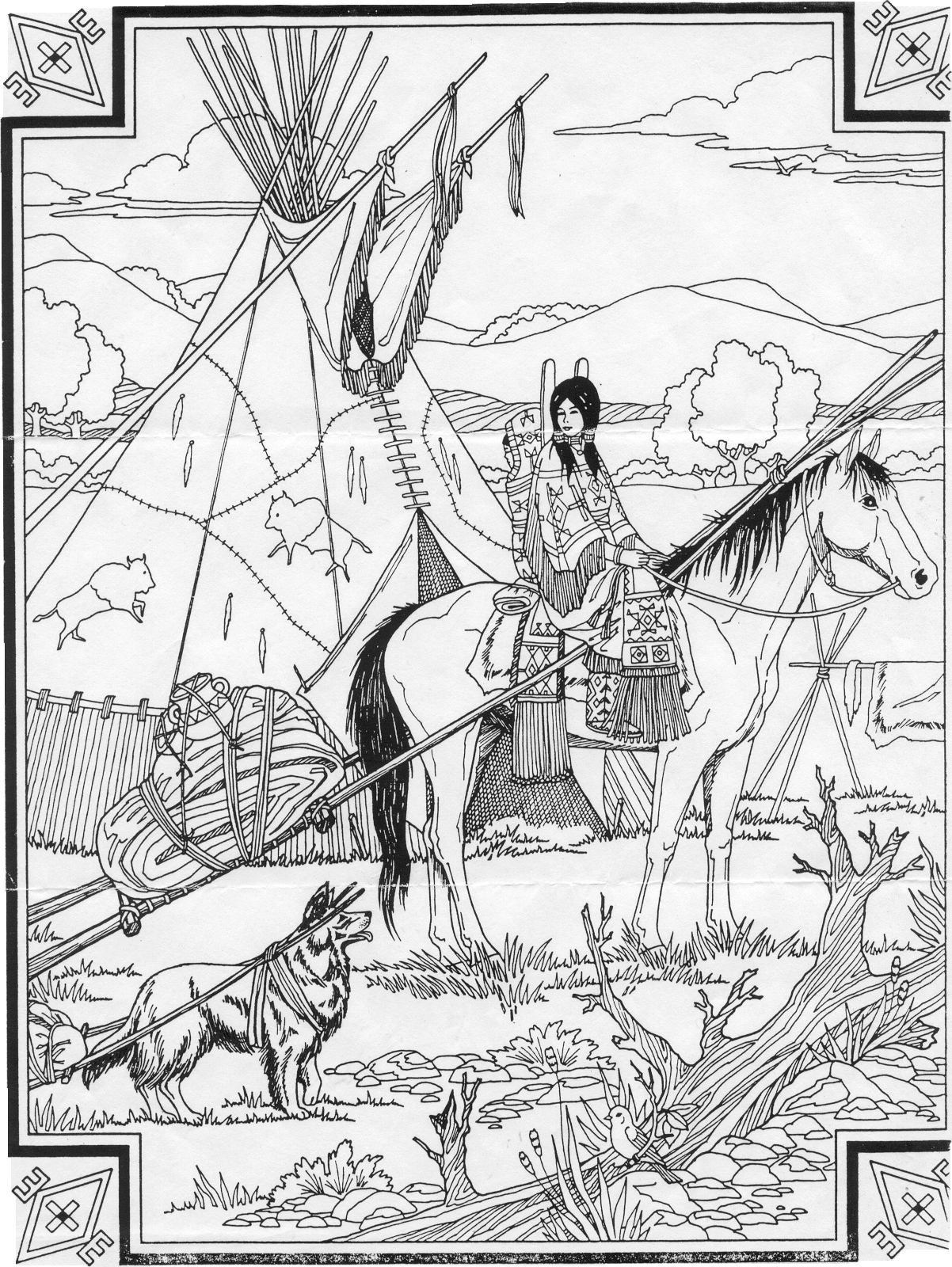 Indian coloring pages free ~ Horse coloring pages, Free horses and Native american ...